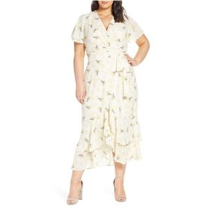 RACHEL ROY Floral Faux Wrap Ruffle Hem Midi Dress